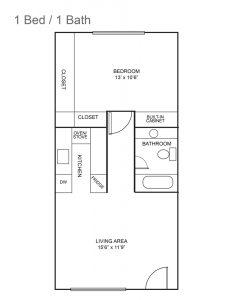 Royal Colonial Floor Plan- 1 bed 1 bathroom