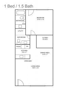Royal Colonial Floor Plan - 1 bed / 1.5 bath