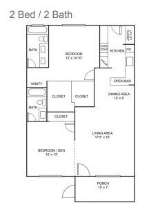 Royal Colonial Floor Plan - 2 bedroom 2 bath