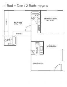 Royal Colonial Floor Plan - 1 bed + den / 2 bath