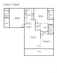 Royal Colonial Floor Plan - 3 bedroom 3 bathroom